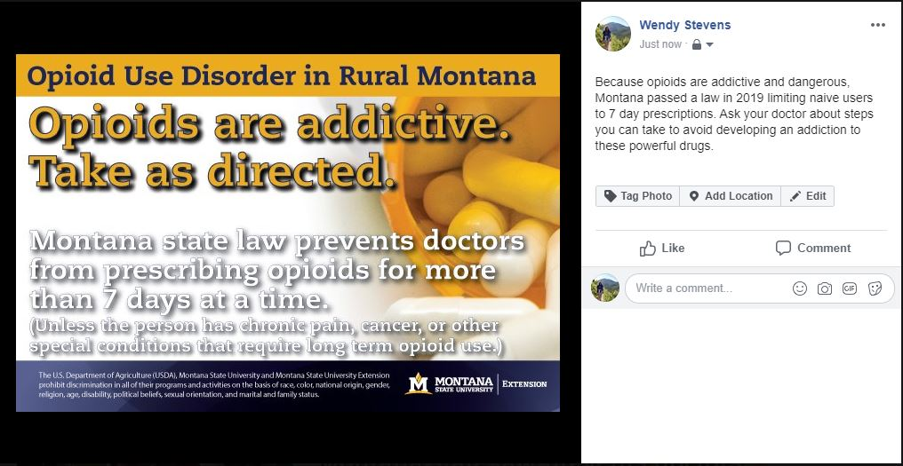 Opioids can only be prescribed to naive patients for 7 days in Montana