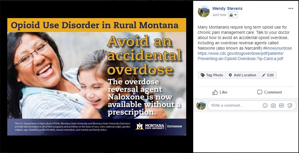Many Montanans require long term opioid use for chronic pain management care. Talk to your doctor about how to avoid an accidental opioid overdose, including an overdose reversal agents called Naloxone (also known as Narcan®)